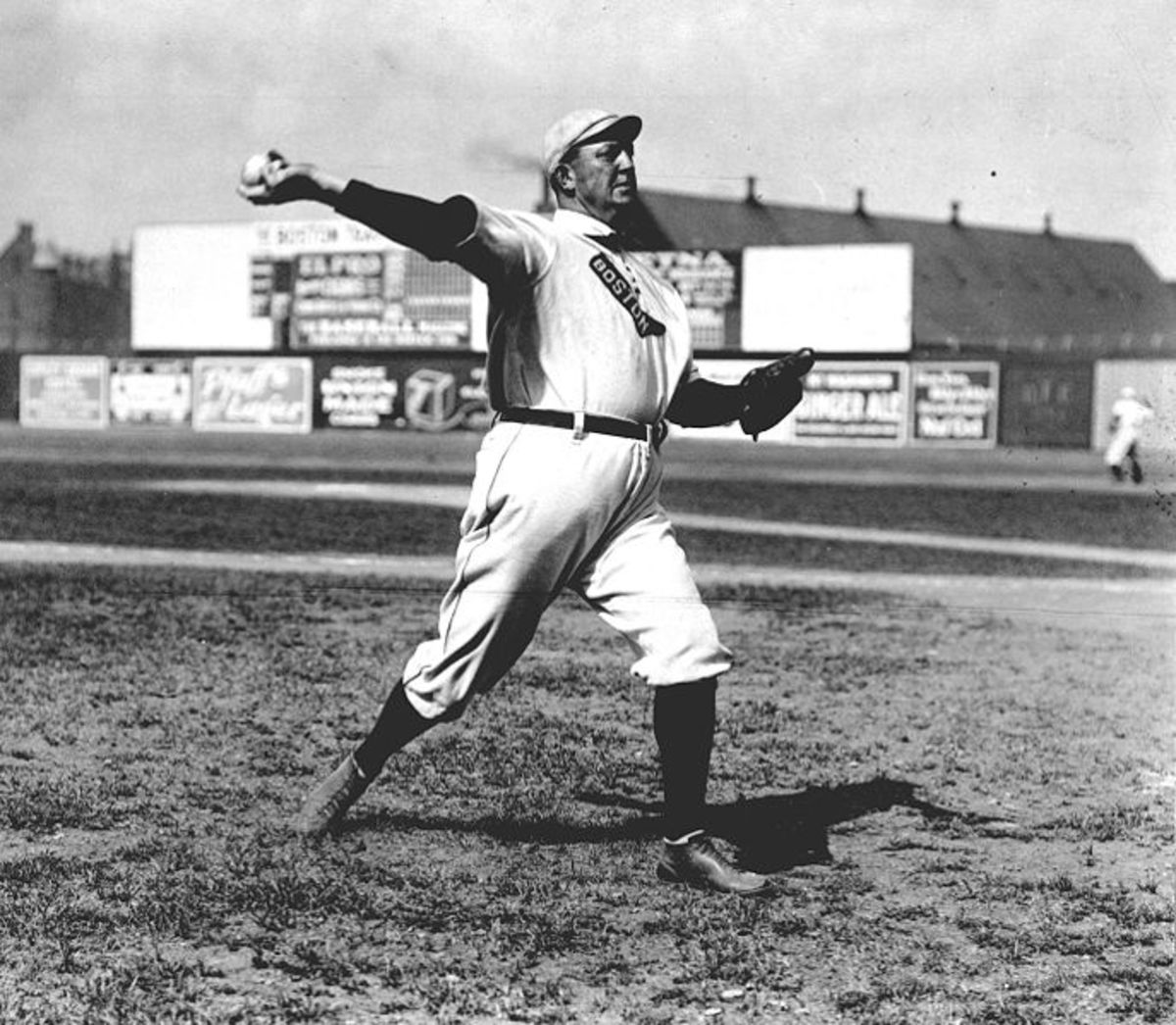 Cy Young pitching, 1908.