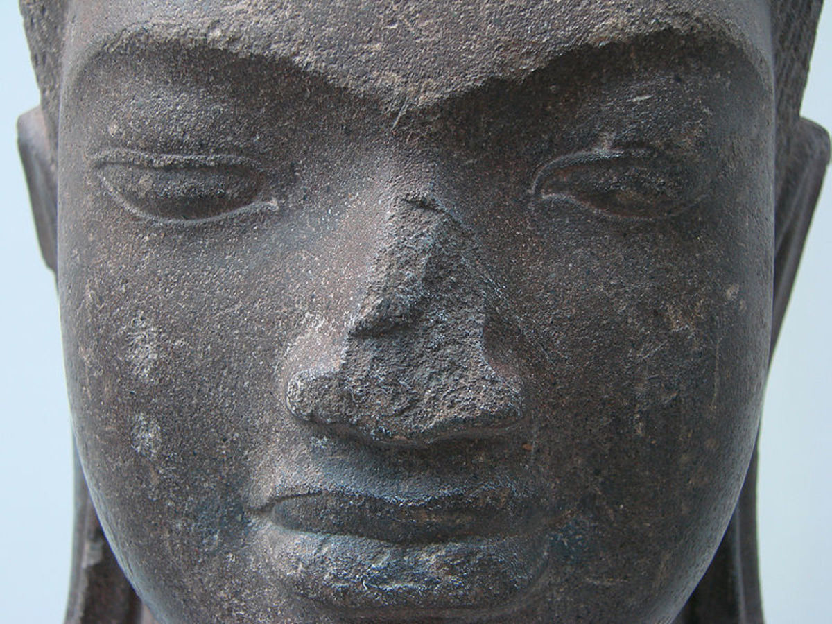 A Maitreya Bodhisattva statue from Cambodia at the Musee Guimet.