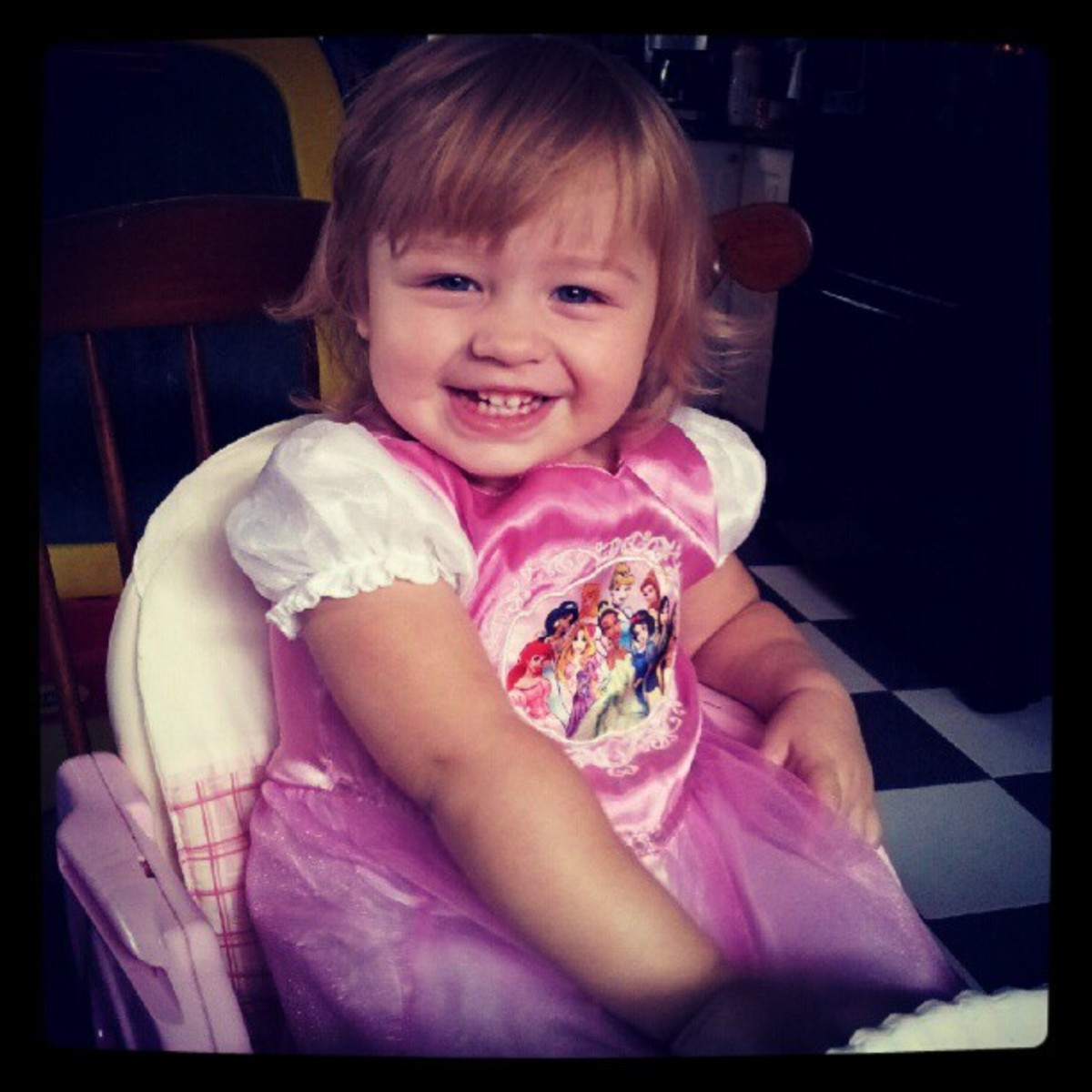 My little princess dressed like a princess, just shy of two years old.
