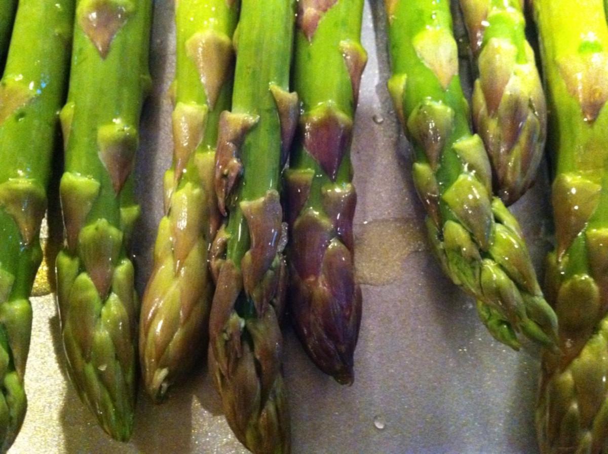 Oven-roasted asparagus.