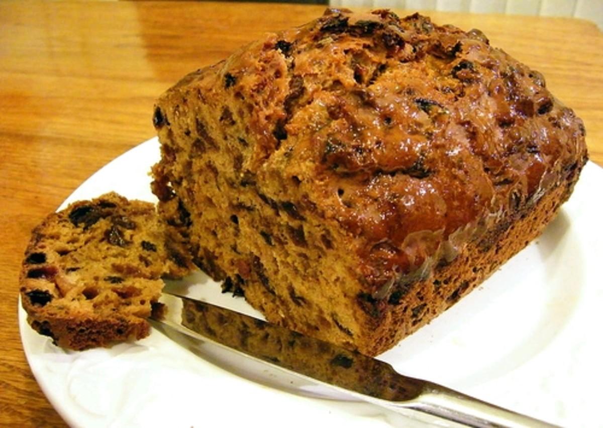 A Welsh recipe: bara brith fruit loaf.