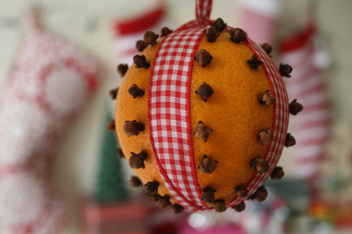 This is what a sweet-selling moth repellent finished product could look like, but use your own imagination when placing the cloves and choosing the ribbon to use.