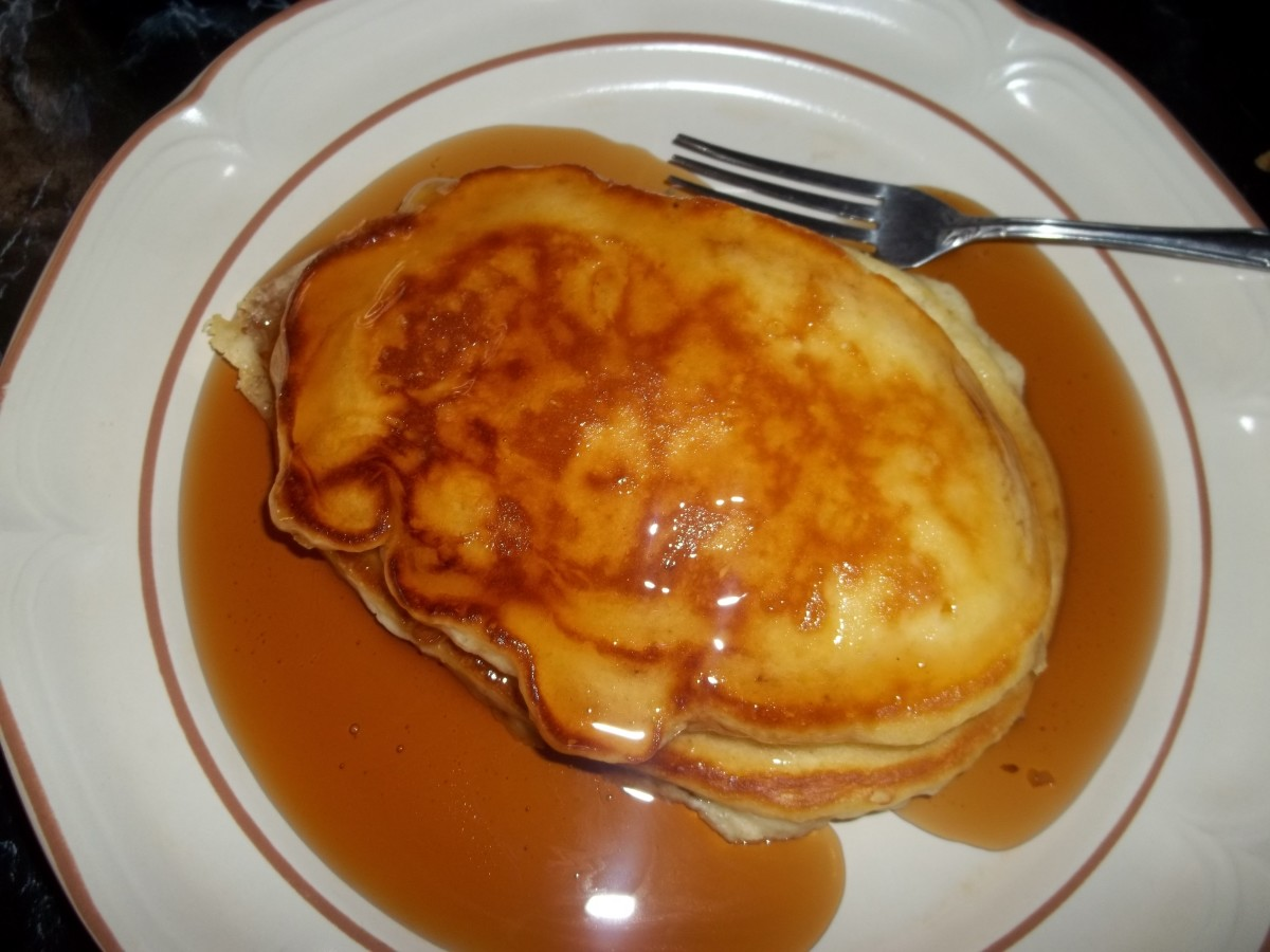 This pancake is ready to enjoy! I usually have strawberries piled on mine!