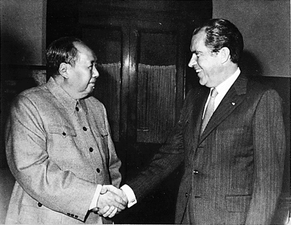 Nixon and Mao in China.  This visit sparked a different world order and the advent of everything from cheap clothing to Happy Meal Toys in the U.S.