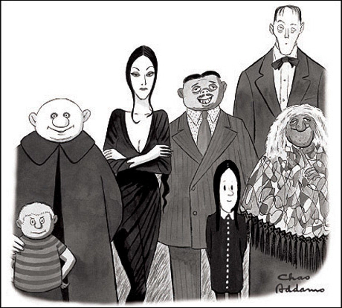 The Addams family as drawn by Charles Addams.
