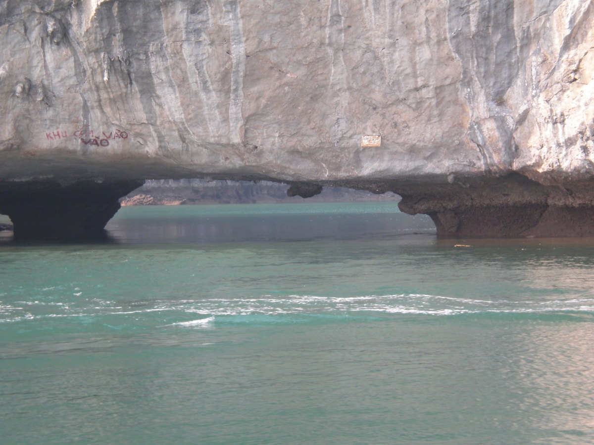 Results of water and wind erosion on the limestone cliffs of Halong Bay, Vietnam.