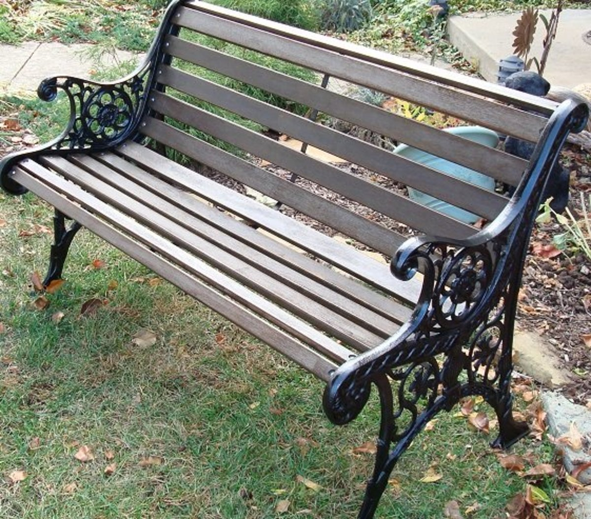 "The ""after"" photo of the garden bench I restored myself."