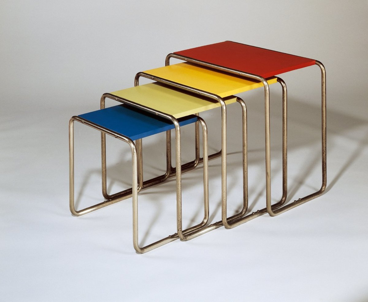 Tubular steel chairs, designed by Marcel Breuer, 1928