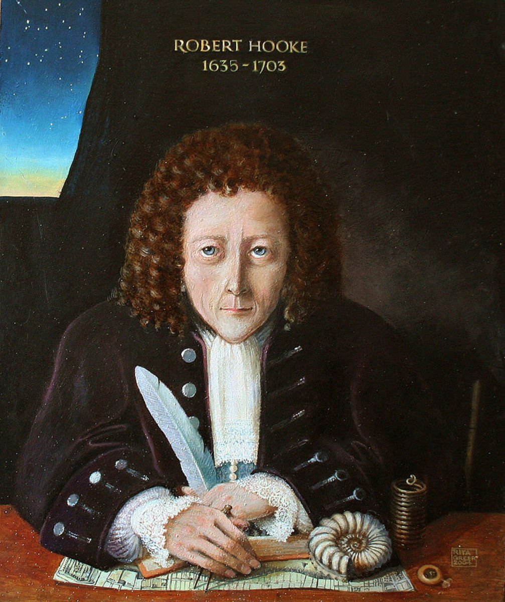 As no contemporary portrait of Robert Hooke has survived from the seventeenth century, this is a reconstruction by Rita Greer in 2004 based on the descriptions of Hooke by his colleagues.