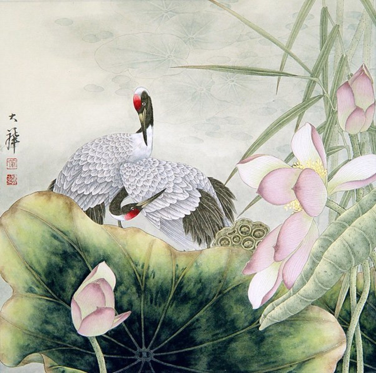Cranes are symbols of good luck in Chinese tradition of Feng shui