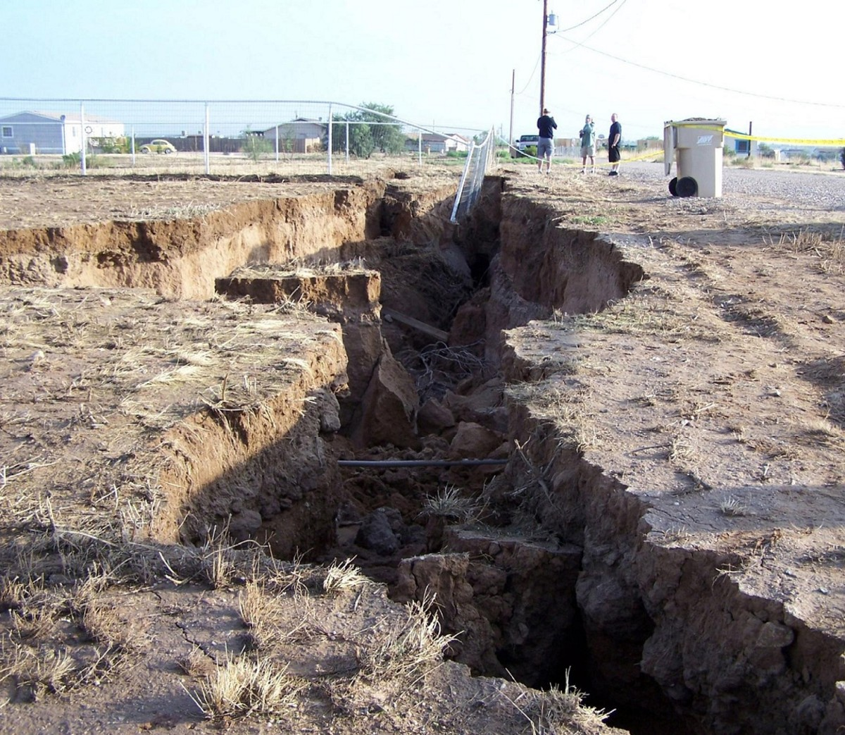 An earth fissure that opened up in Queen Creek Arizona after heavy rains the previous night.
