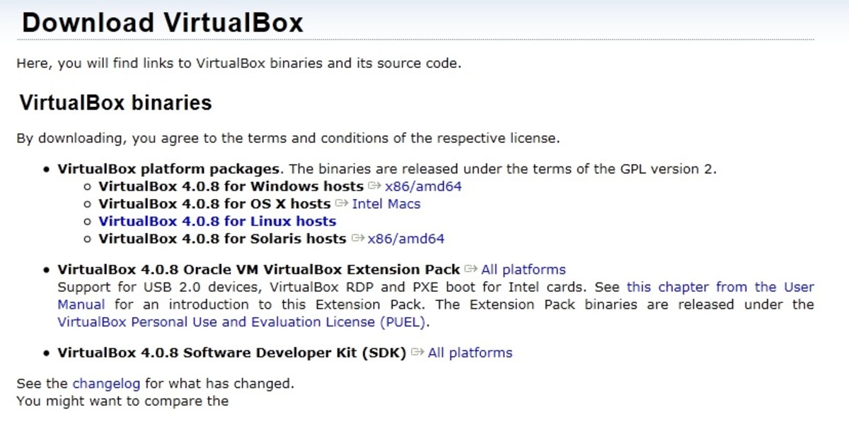 The VirtualBox Download Page - Because I have Windows 2008, I selected VirtualBox 4.0.8 for Windows hosts =  x86/amd64
