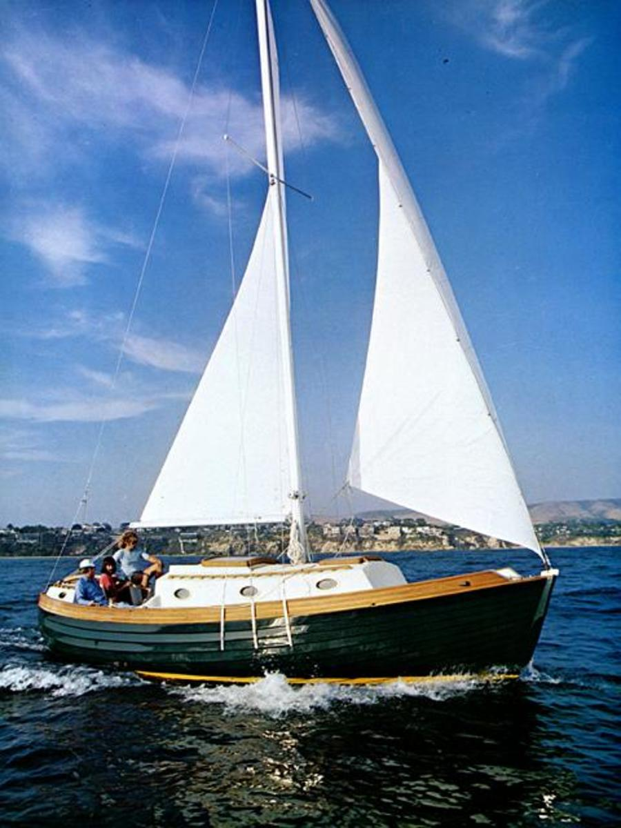 """A very smart looking boat - the Nor'Sea 27 breaks all the rules and redefines what it takes be be considered a """"cruising sailboat""""."""