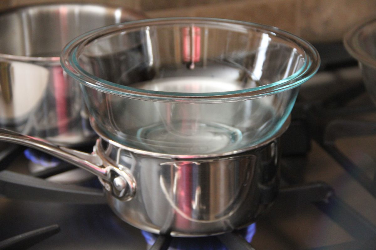 Double boiler method of melting soap