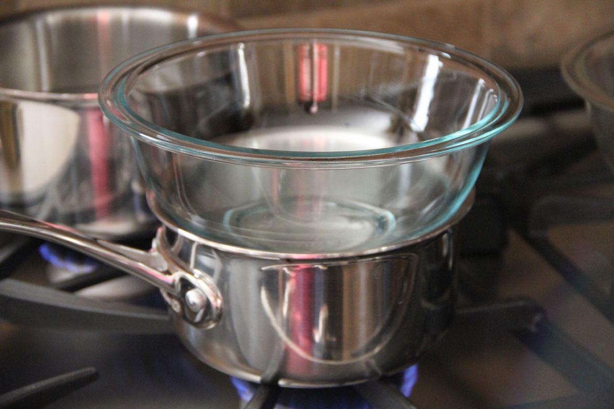 Double boiler method of melting soap