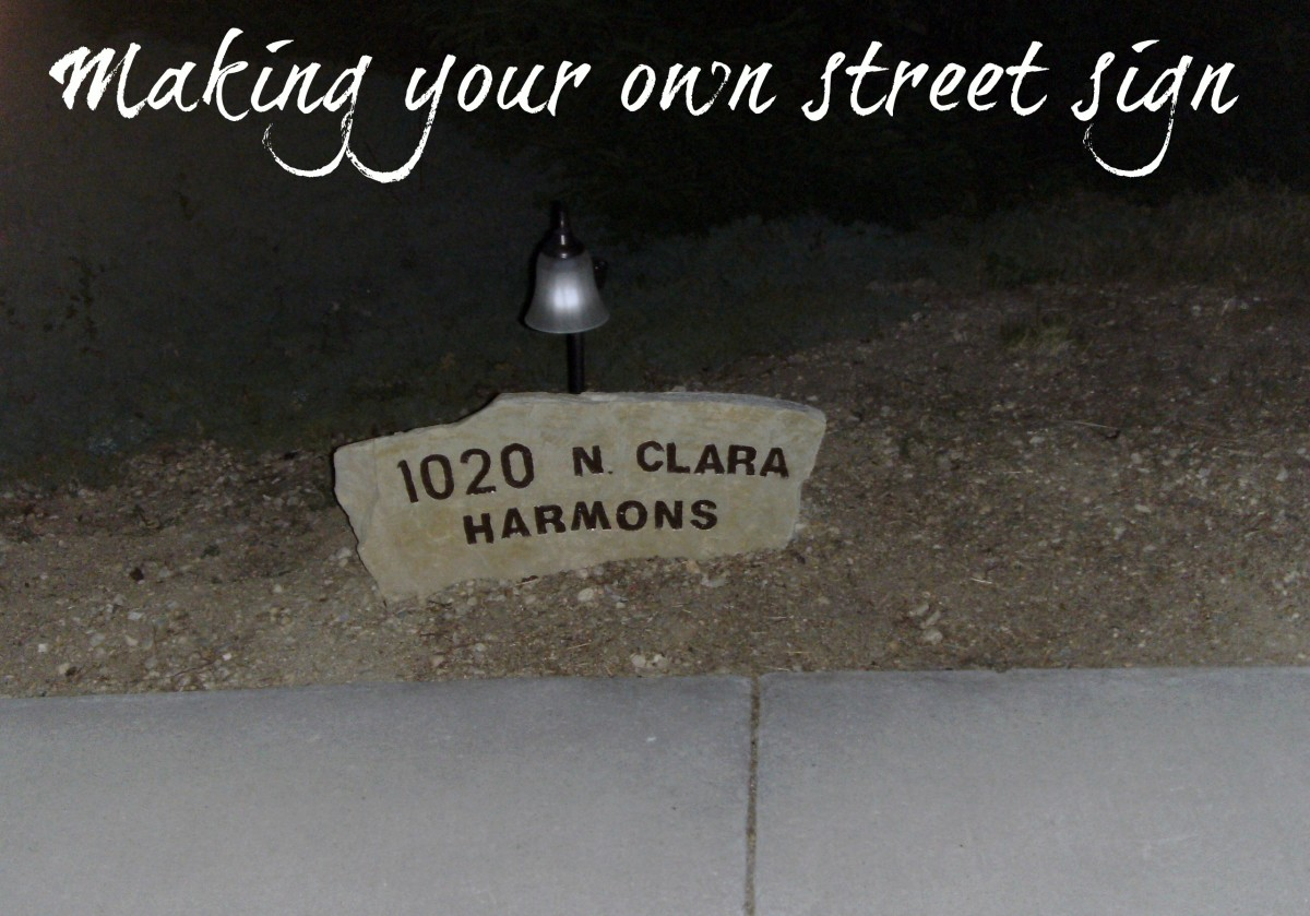 Making your own street sign from engraved stone isn't difficult.