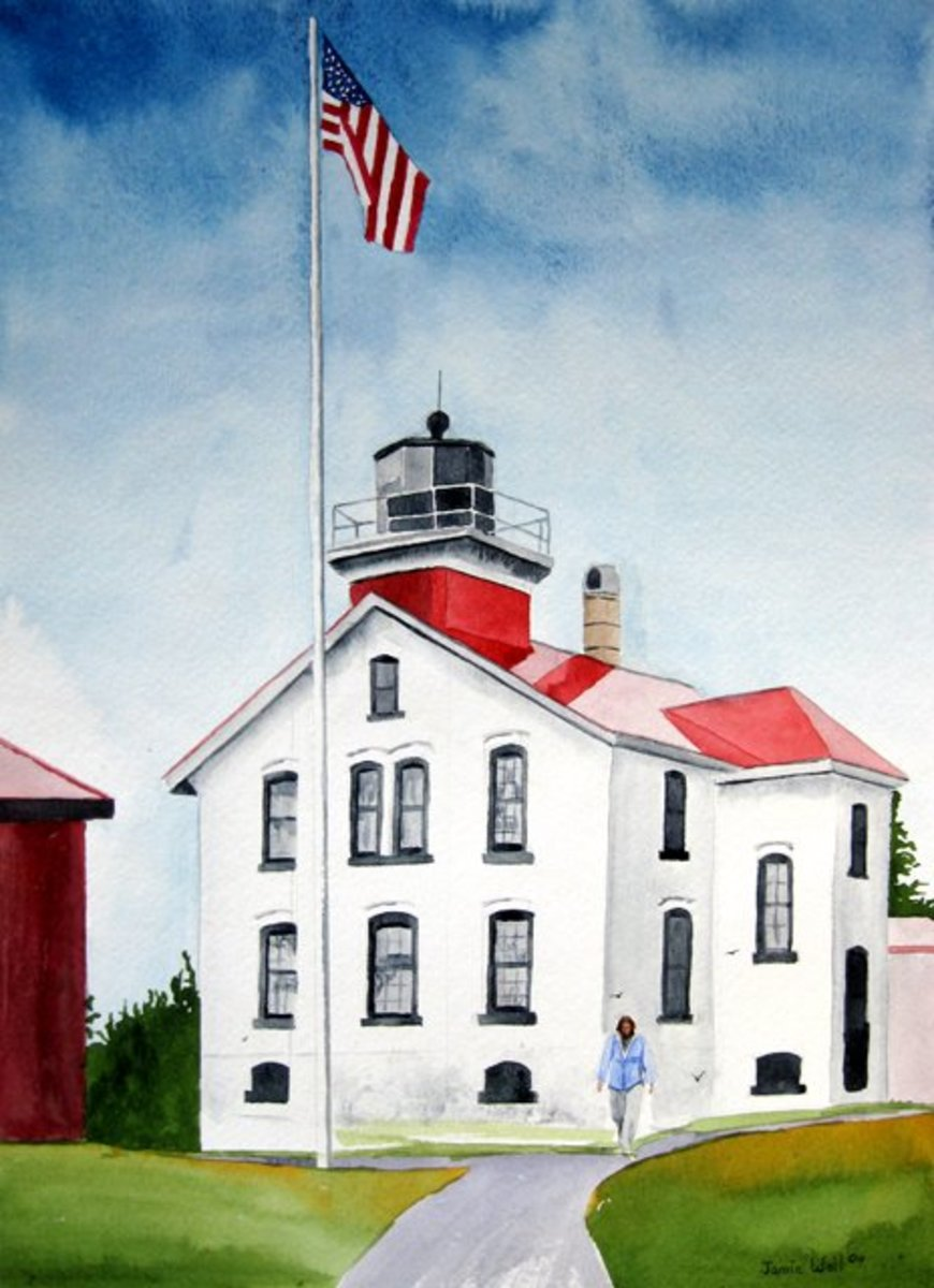 Watercolor of Grand Traverse Lighthouse by Jamie Weil