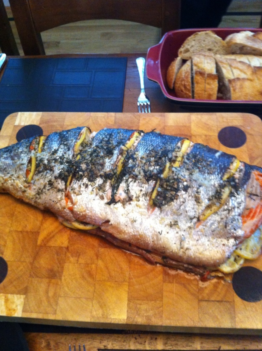Barbecuing a Whole Salmon