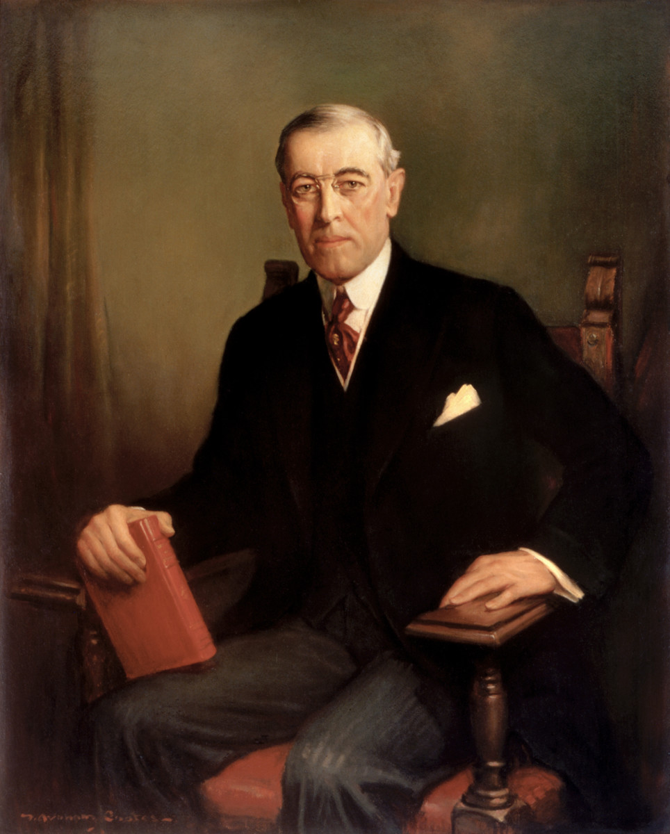 Painting of Woodrow Wilson.