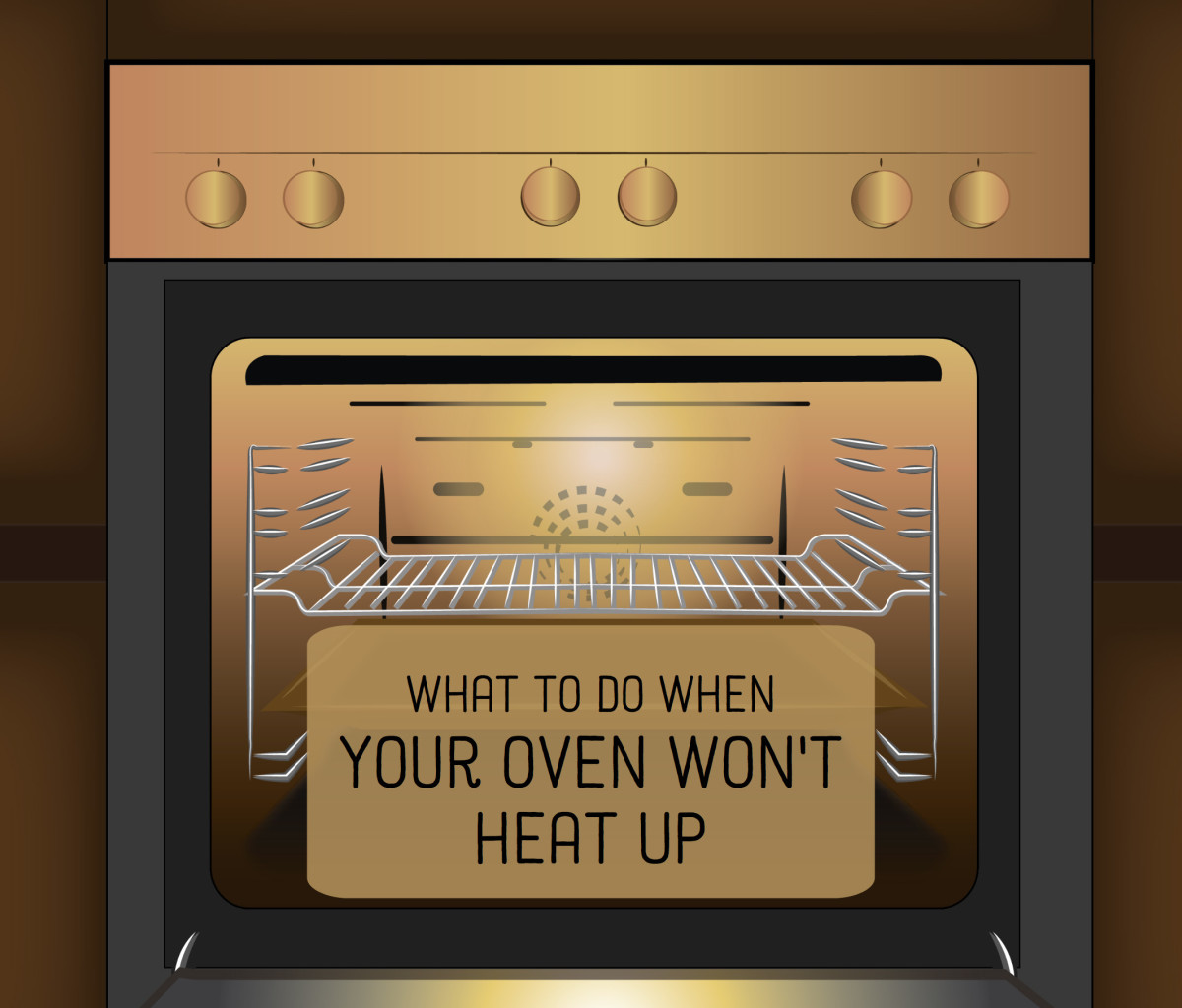 When an electric oven won't heat up, it's usually a faulty heating element. For a gas oven, it may be the bake ignitor.