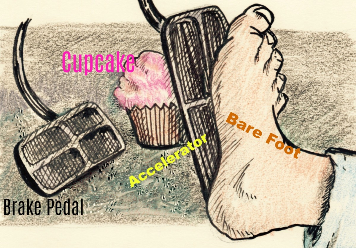 Light pressure on the gas pedal conserves fuel and keeps the cupcake from being squashed. Leaving shoes at home saves weight.  The cupcake actually should be between the pedal and the foot, but the foot model protested.