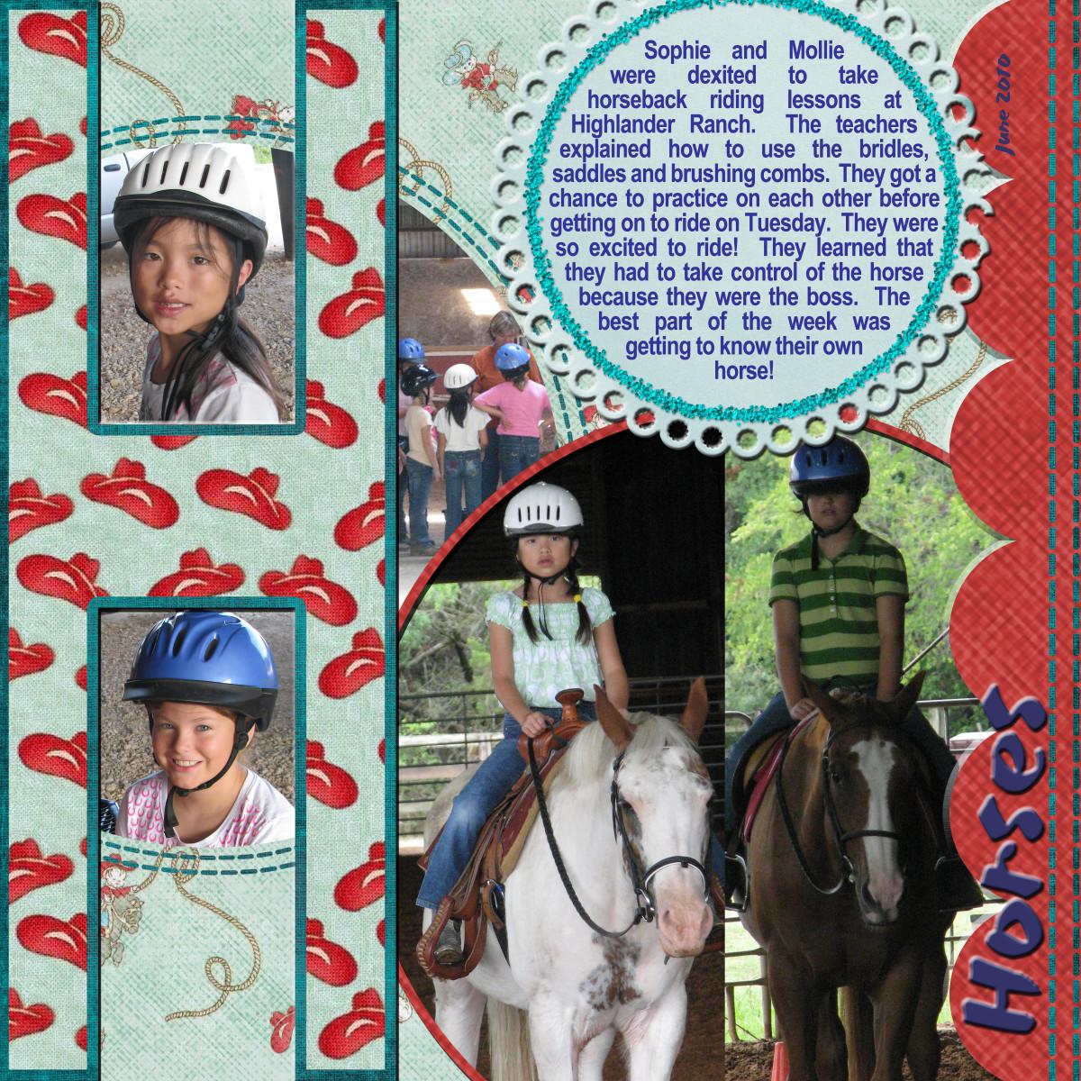 Learning horseback riding together.