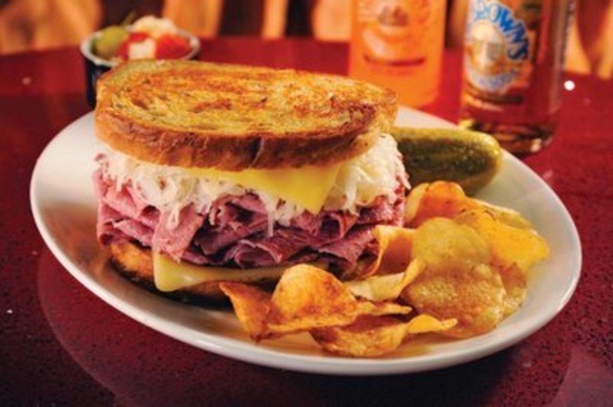 A Reuben (or Rachel) sandwich.