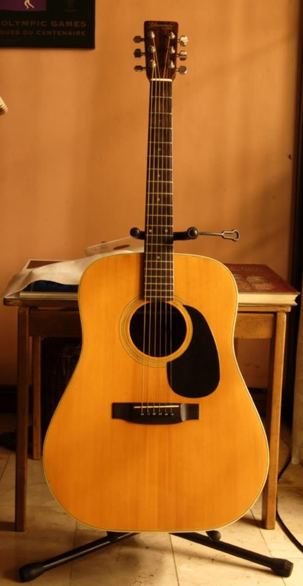 A Very Nice Yamaki Acoustic Guitar.  It Looks Like a Martin D 18 Copy