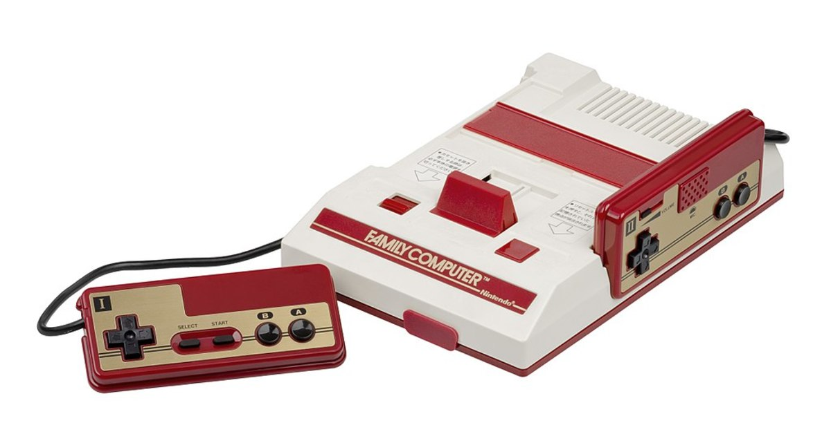 "An early model of the Famicom, the Japanese release of what came to be called the ""Nintendo Entertainment System"" in the West."