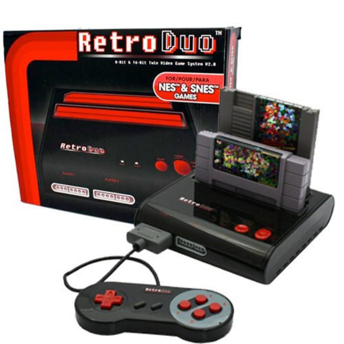 A promotional photo of the Retro Duo in red and black.