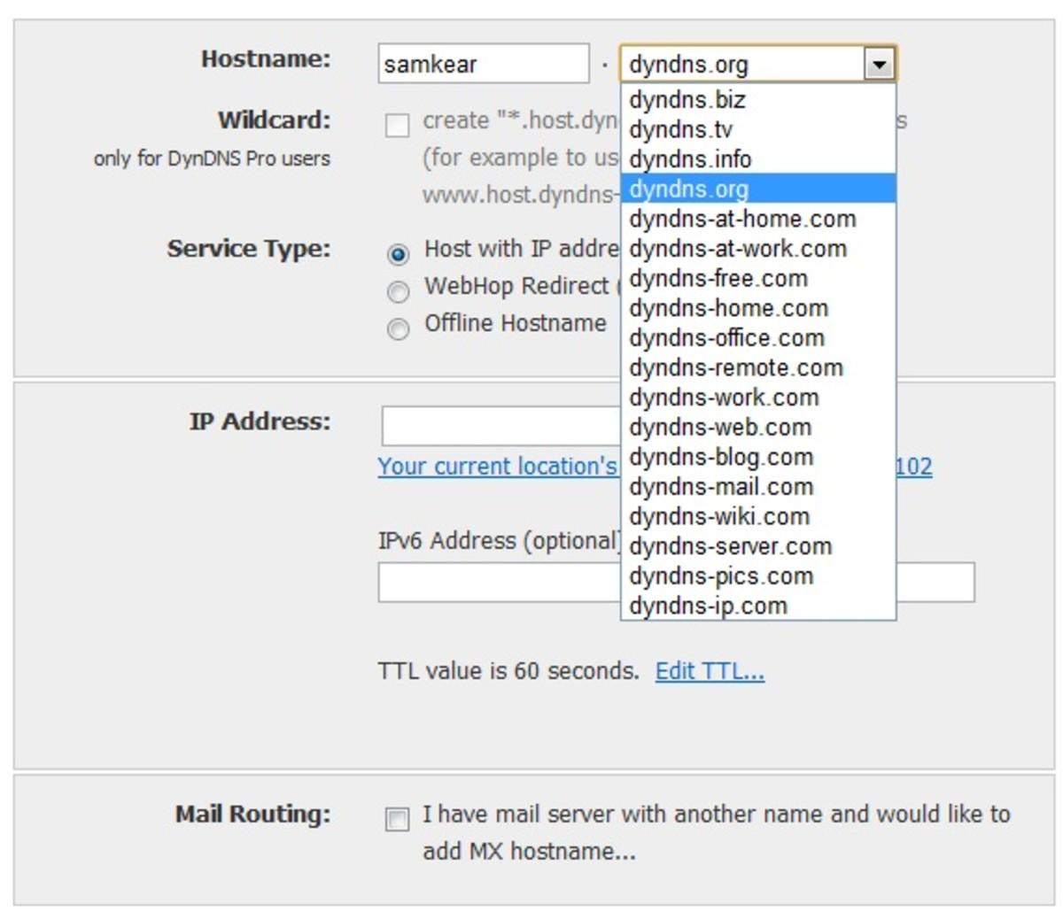 DynDNS registration page