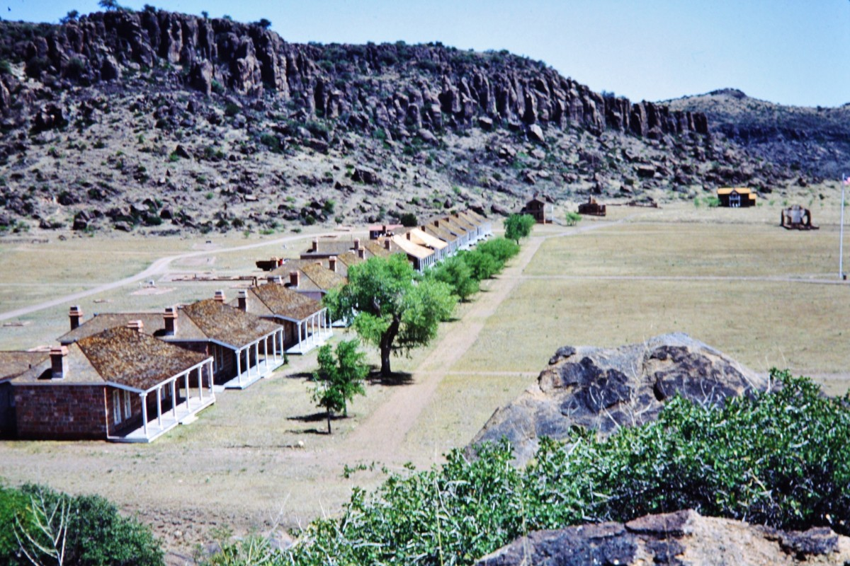 Row of officer's housing at Fort Davis in West Texas as viewed from a nature trail above the fort grounds.