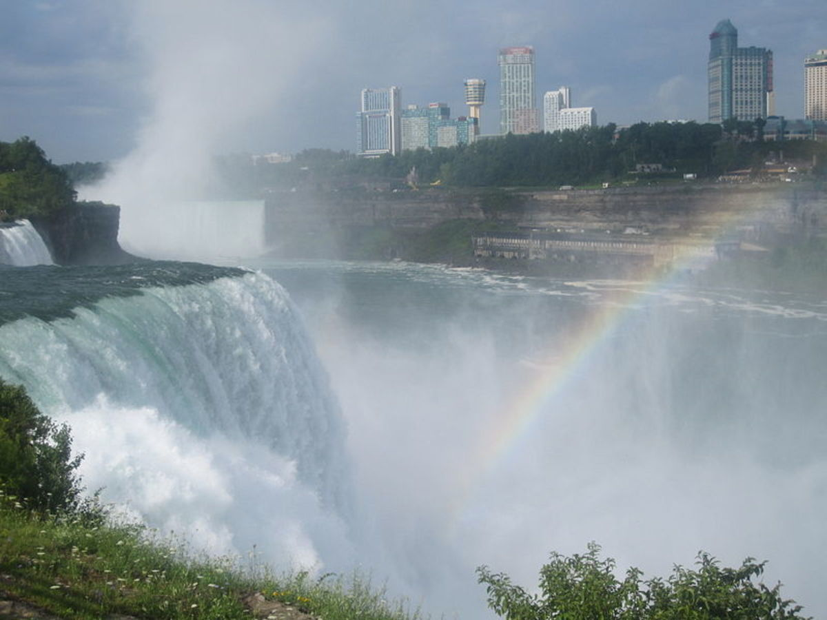 Niagara Falls with hotels in background.