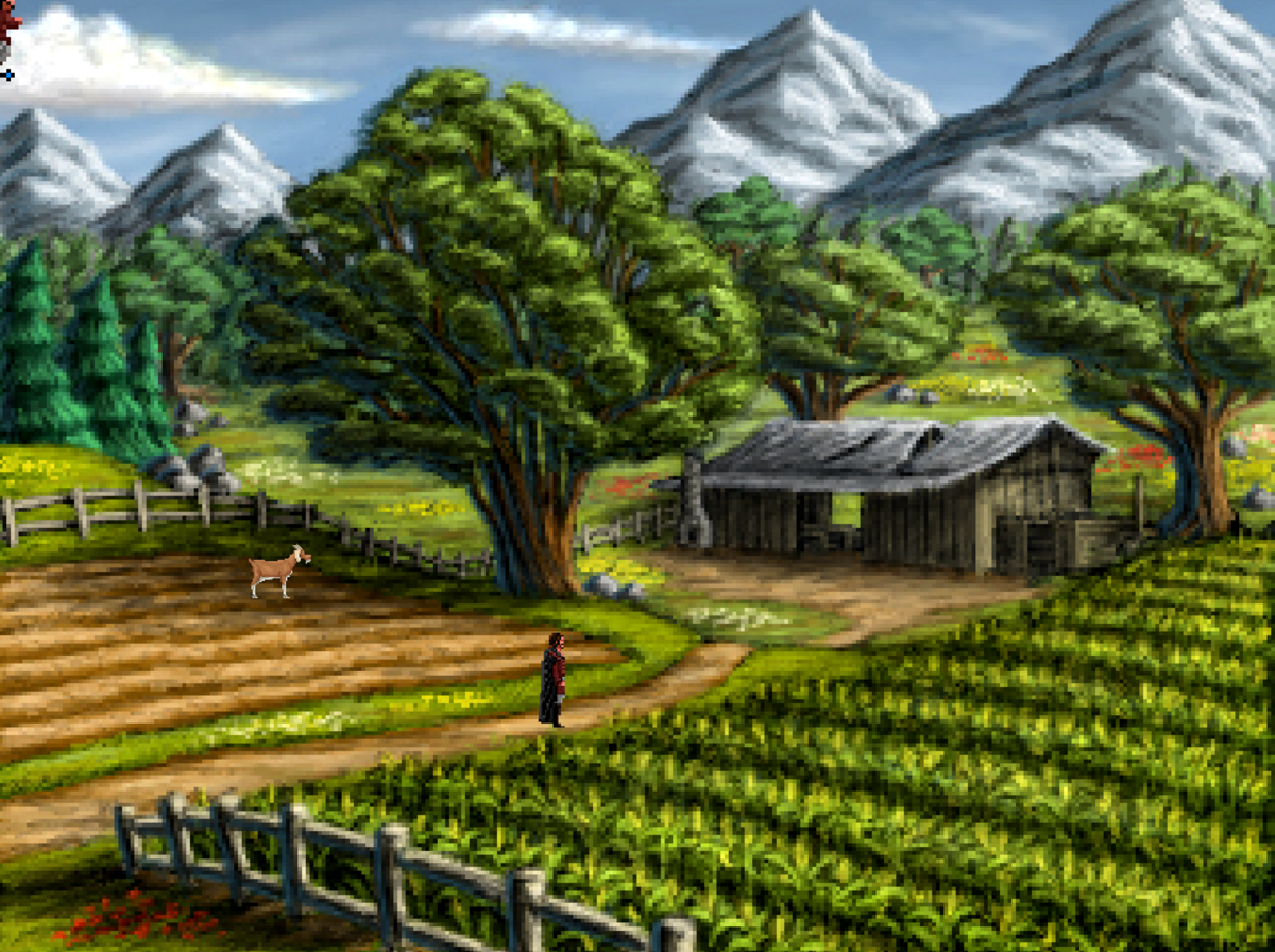 Roehm explores a farm east of Volksville in Quest for Infamy.