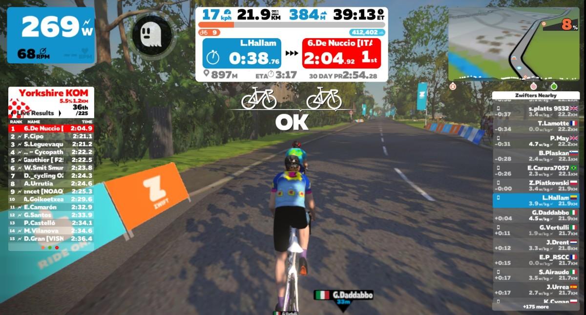 Climbing on the Zwift Virtual Cycling Platform up the Yorkshire KOM, Harrogate
