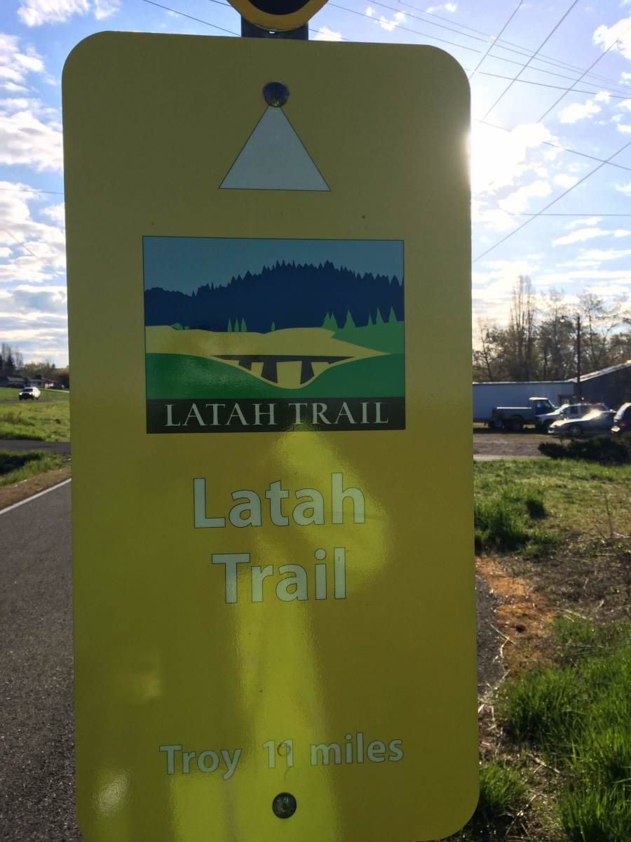 Sign at the beginning of the Latah Trail, Latah County, Idaho, USA