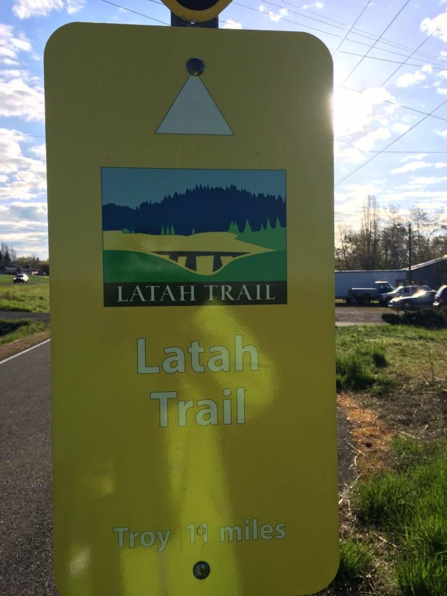 Sign at the beginning of the Latah Trail, Latah County, Idaho, USA