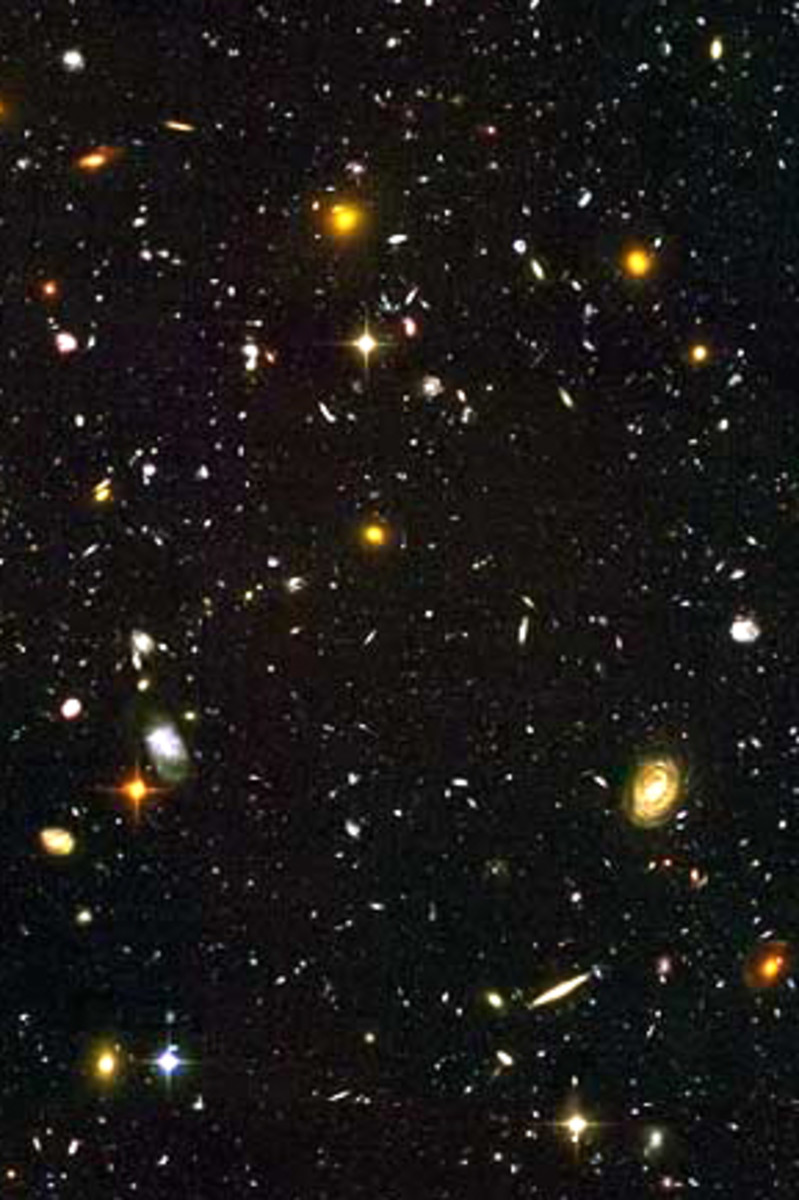 A miscellany of stars and galaxies - sadly, you won't see this with the naked eye or binoculars! Some of the stars are just a few light years distant. But the galaxies are many millions of light years distant
