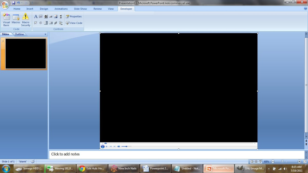 This is a picture of the embedded Windows Media Player in PowerPoint. Notice how the media player is stretched so its controls will not appear on the presentation.