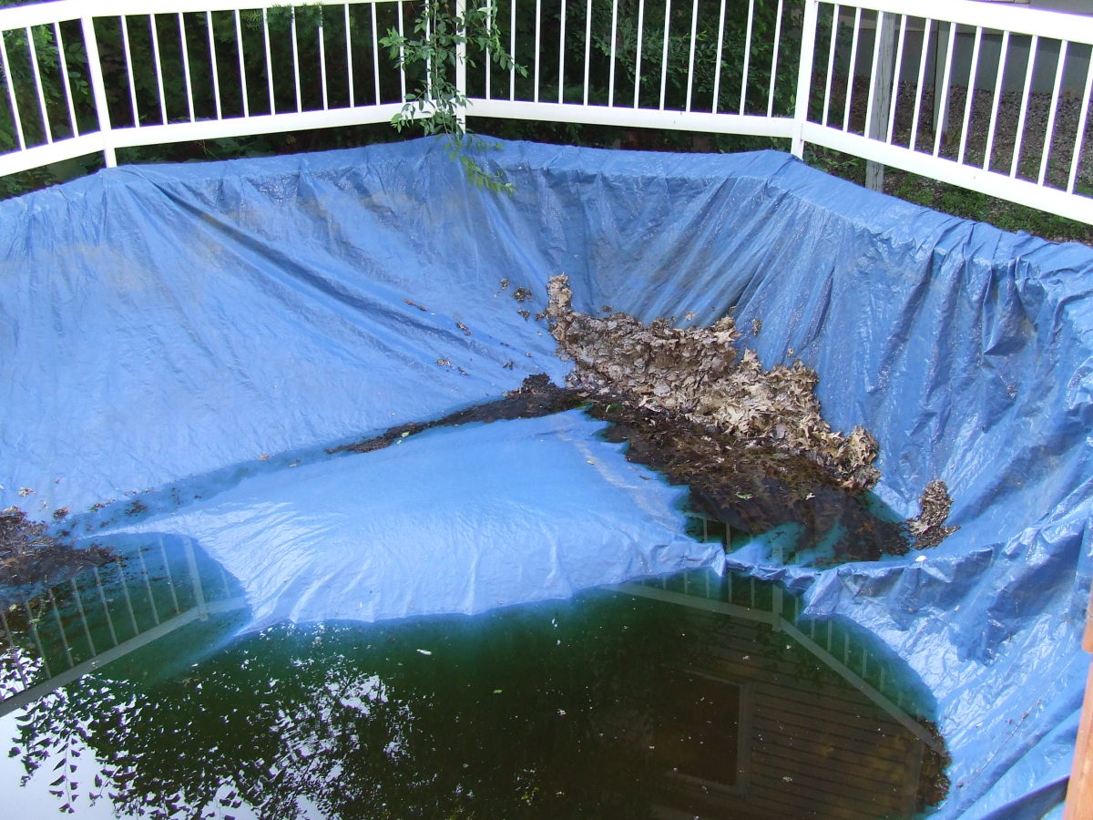 Old school pool cover. When you have this type of cover, you need to pump the water off the cover before you remove it.
