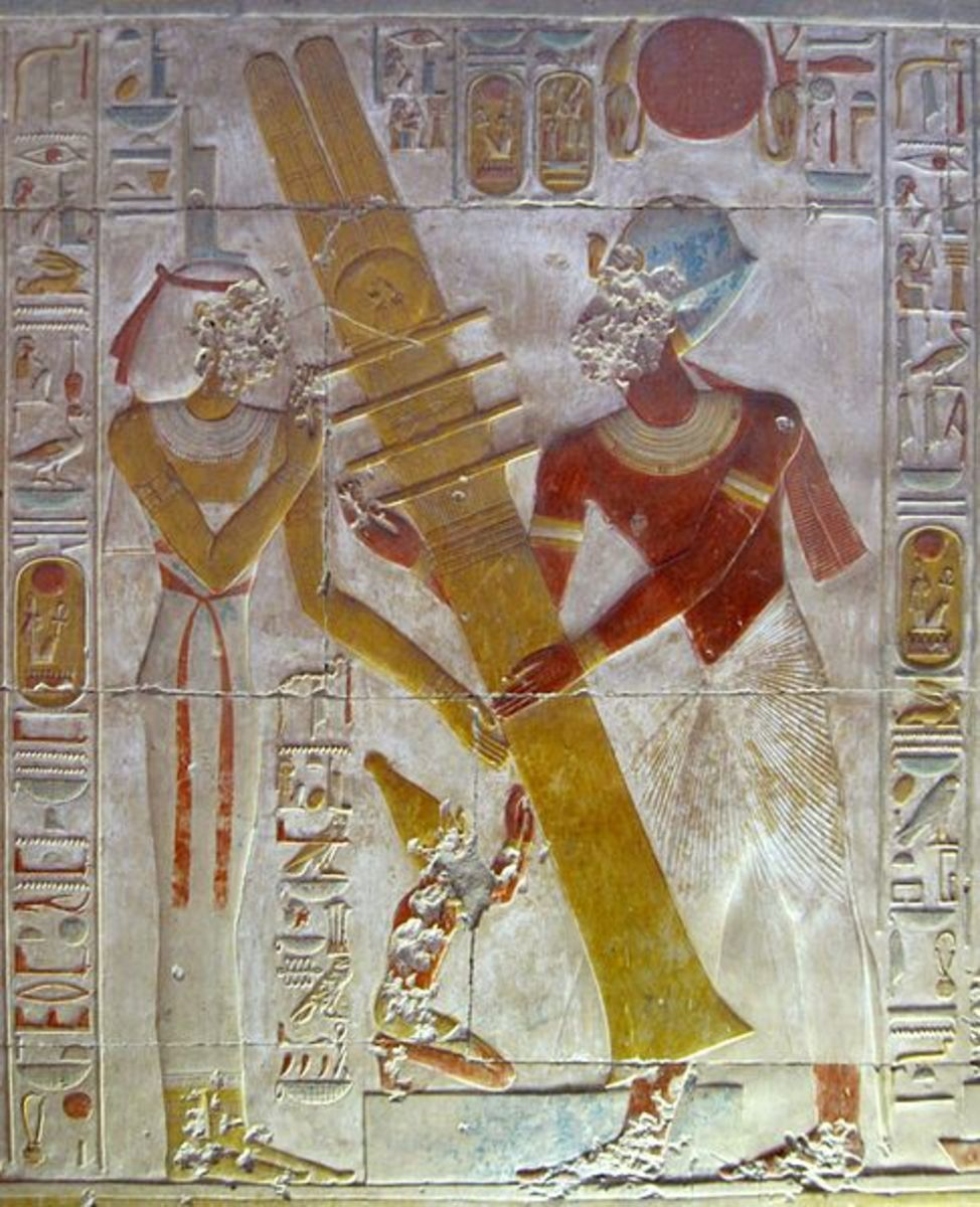"Pharaoh Seti I reestablishes ""the pillar of stability"" during a royal festival, with the goddess Isis and his own self assisting."