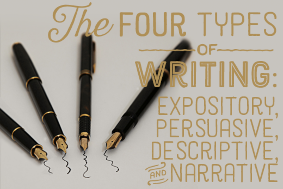 the four different types of essays are narrative descriptive expository and _______ Essays can be grouped into four main categories: narrative, expository, descriptive, and persuasive all four are general to different types of academia and may be.