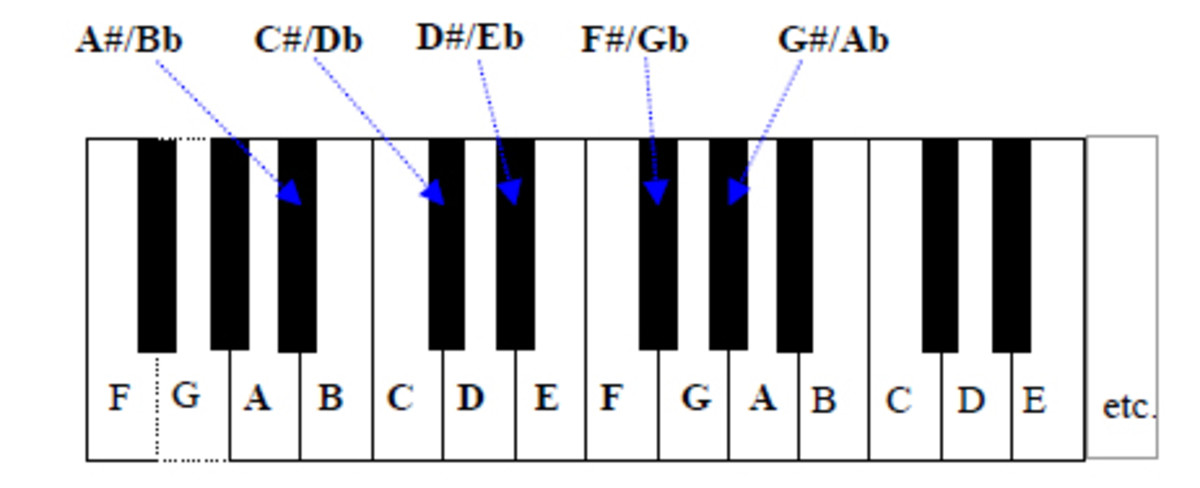 Every note is separated from its neighbours by a semitone (half step).