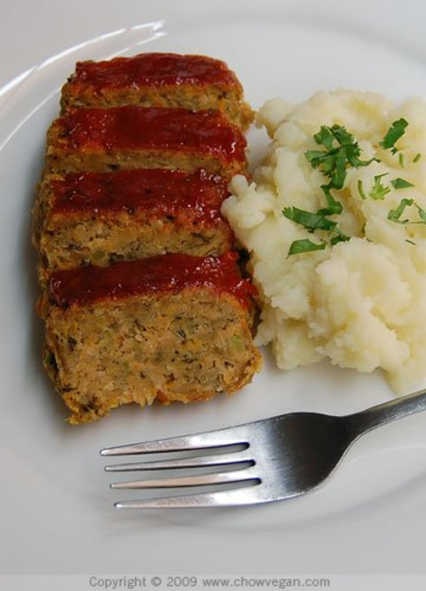 Meatless meatloaf (with mashed potatoes).
