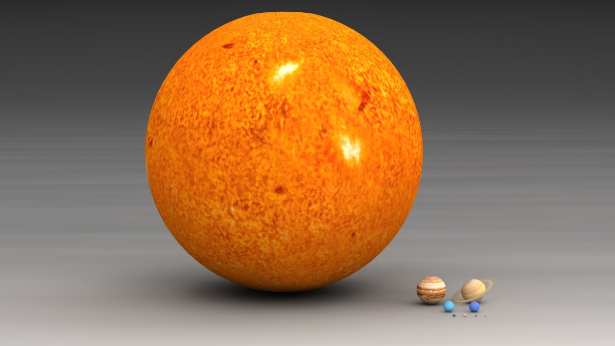 A comparison of the size of our Sun with the planets in our Solar System.