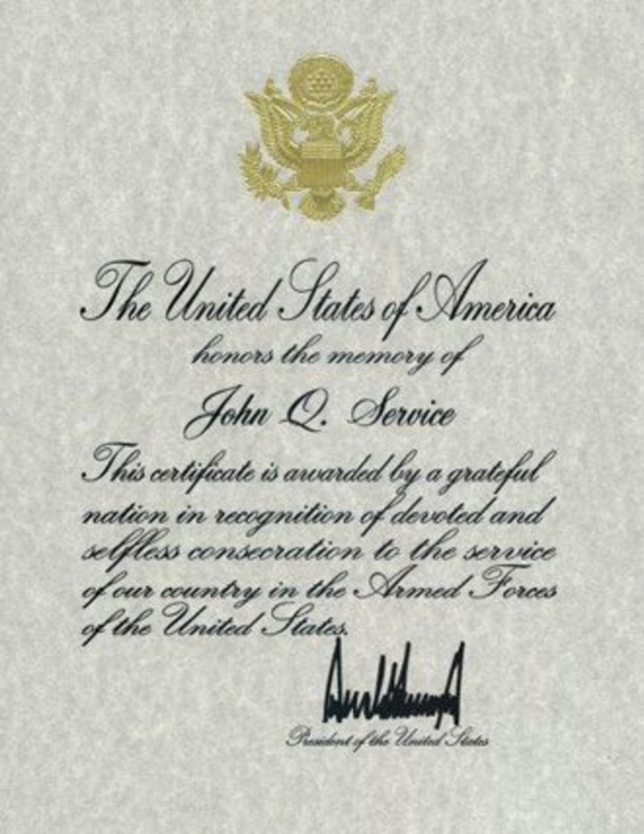 Presidential Memorial Certificate signed by President Donald Trump