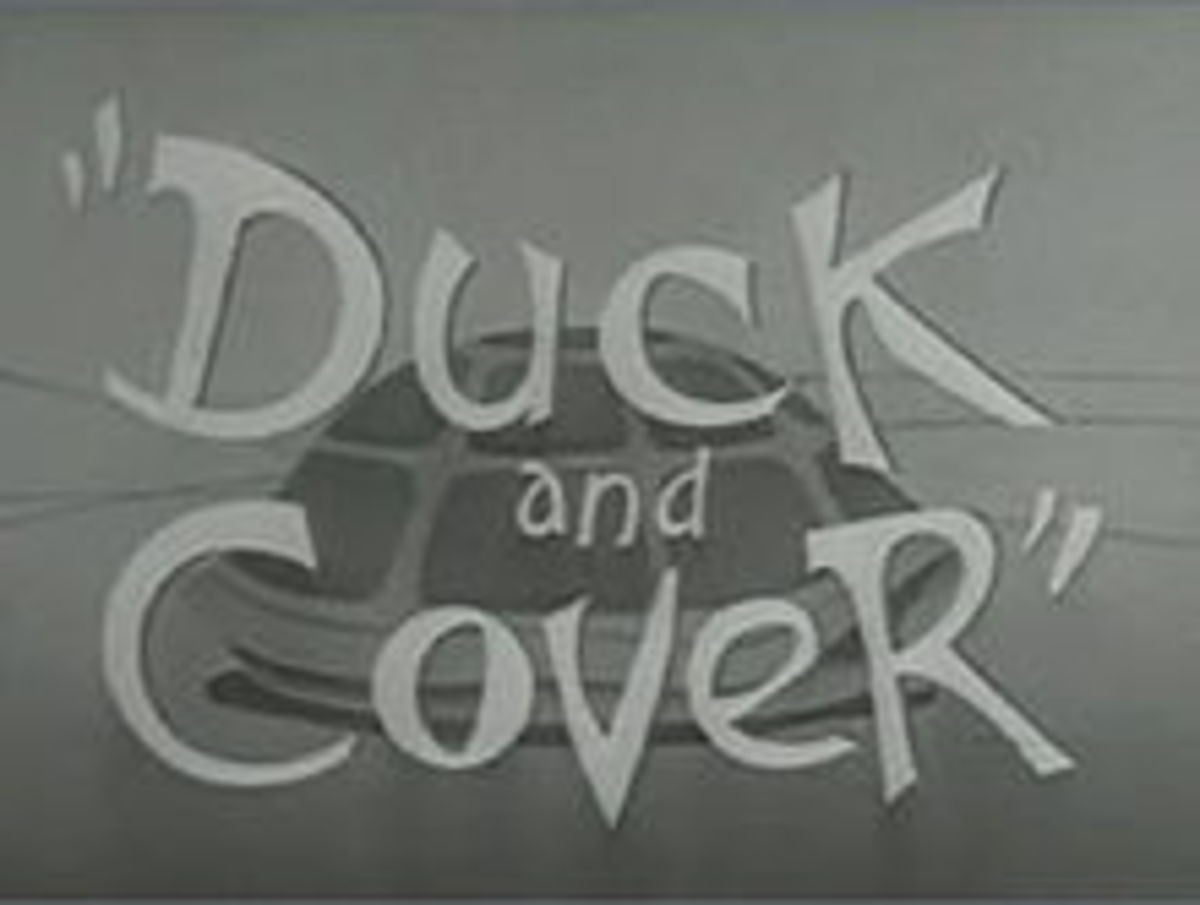 "A cartoon used to educate children to ""Duck And Cover' in the event of a nuclear bomb explosion."