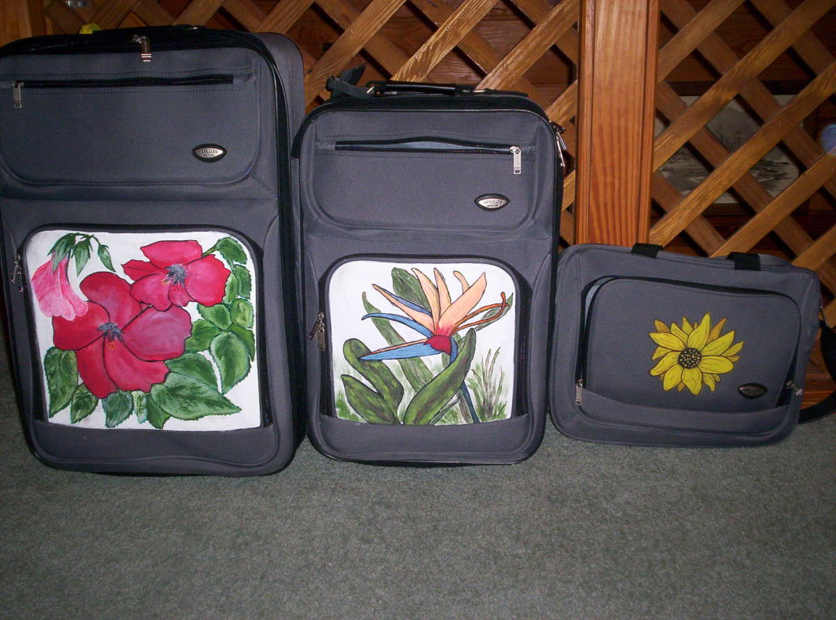 How To Draw And Paint On Your Plain Black Luggage Using Acylic Paint:   Instructions and Photos
