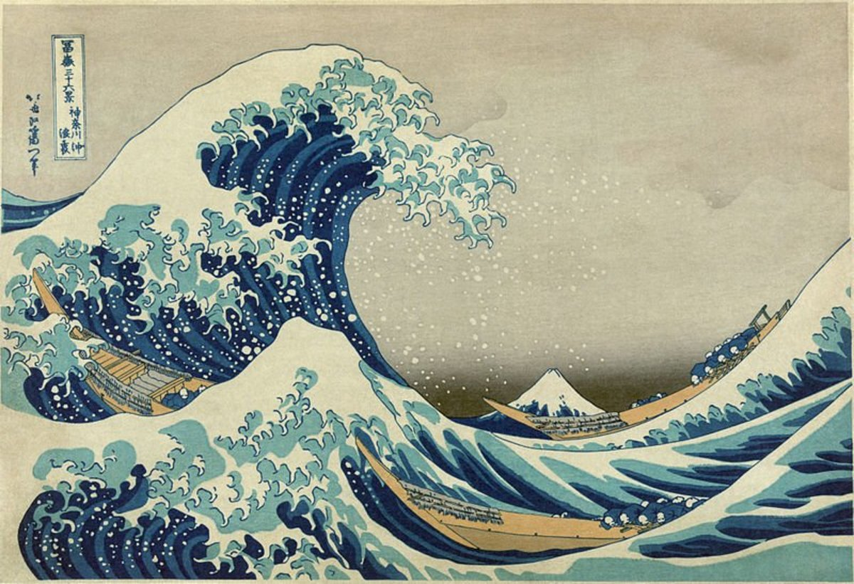 """The Great Wave off Kanagawa"" (literally titled ""Under a Wave off Kanagawa"") by Katsushika Hokusai (1760-1849). First published sometime between 1826 and 1833 and is one of the most famous works of Japanese art."