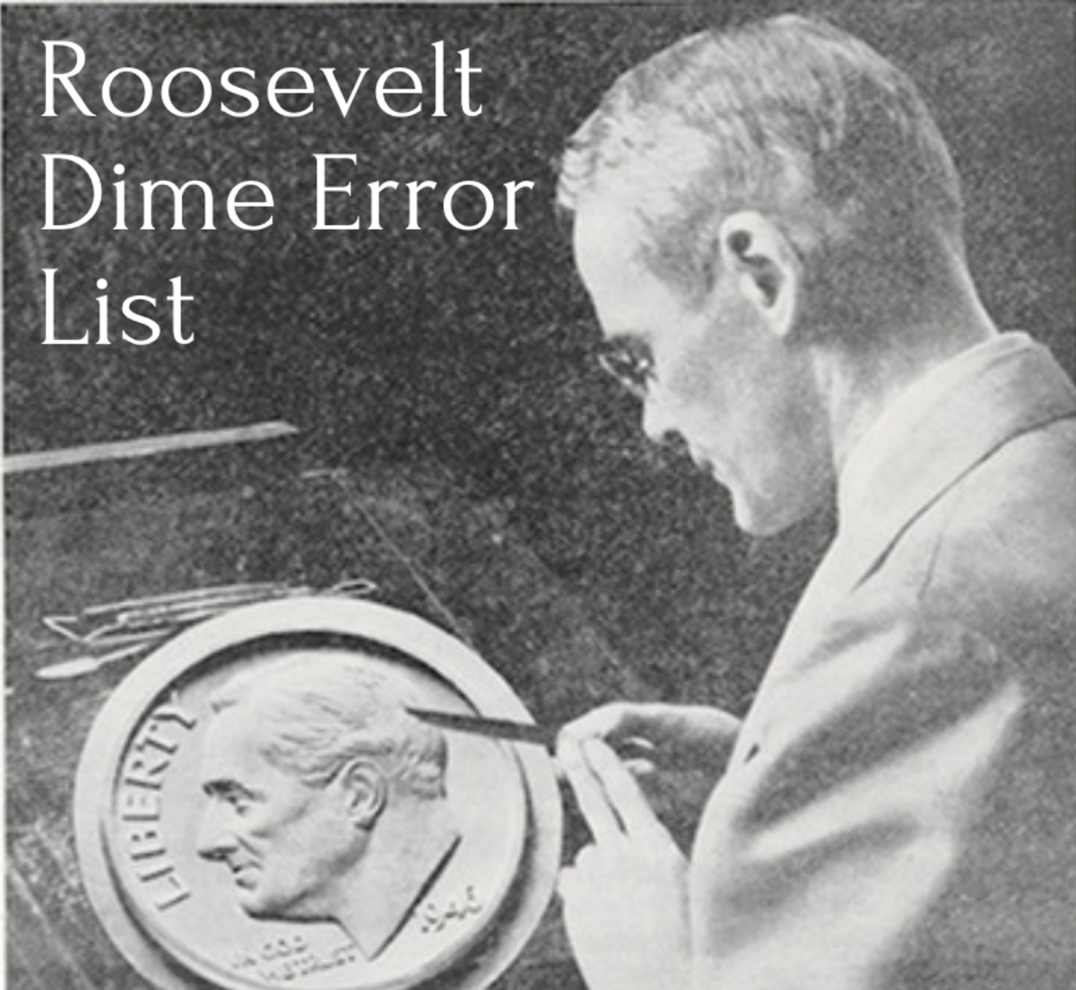 John R. Sinnock at work on plaster model of Roosevelt dime.